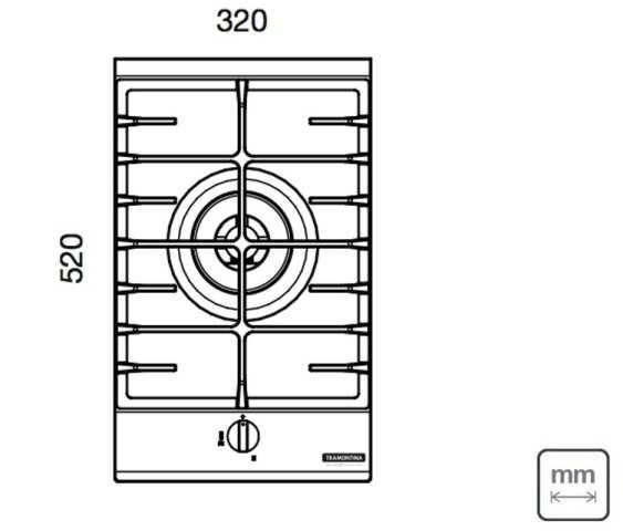Dimensões do produto - Cooktop Tramontina 94737-104