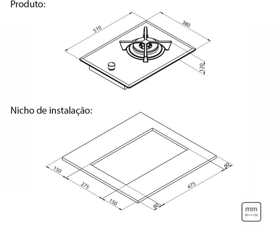 Dimensões do produto e nicho de instalação - Cooktop Tramontina 94743-104