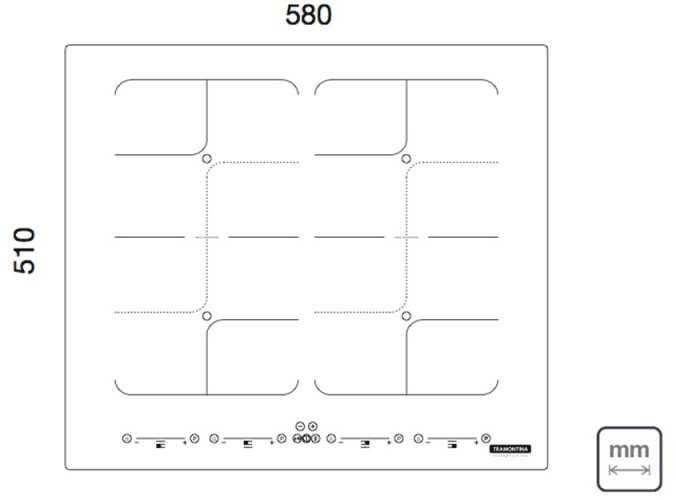 Dimensões do produto - Cooktop de Indução Tramontina