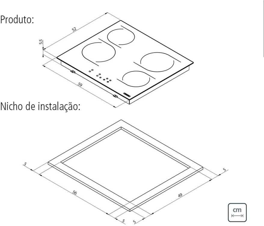 Dimensões do produto e nicho de instalação - Cooktop 4 bocas Tramontina