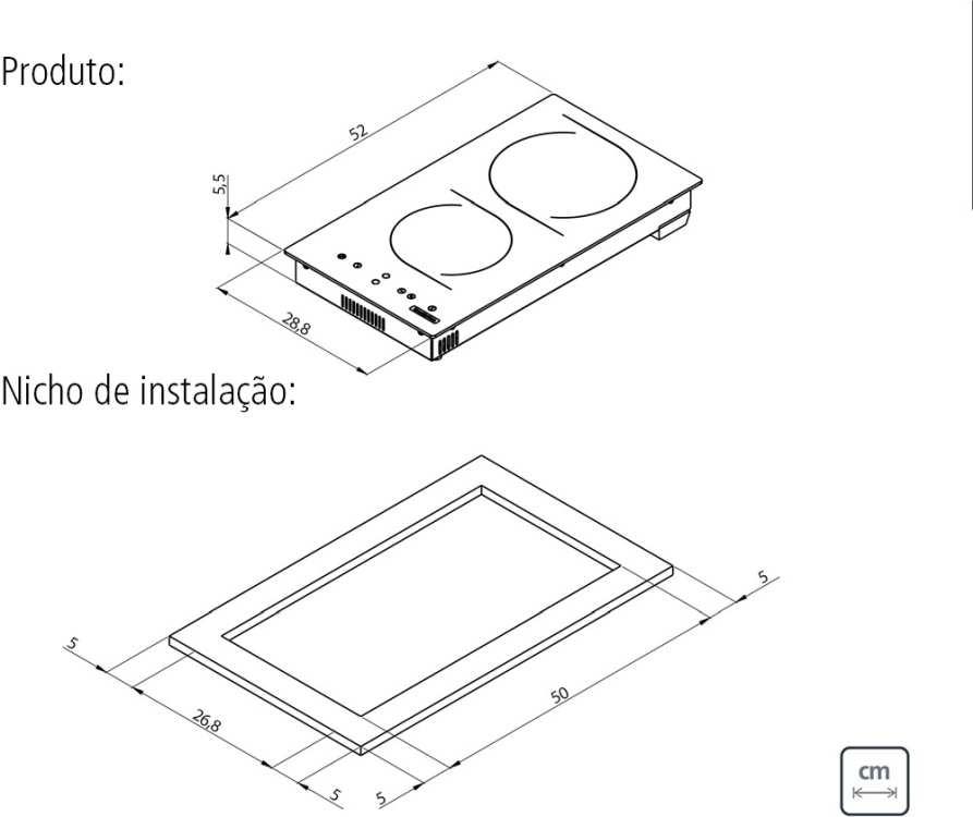 Dimensões do produto e nicho de instalação - Cooktop Elétrico Tramontina