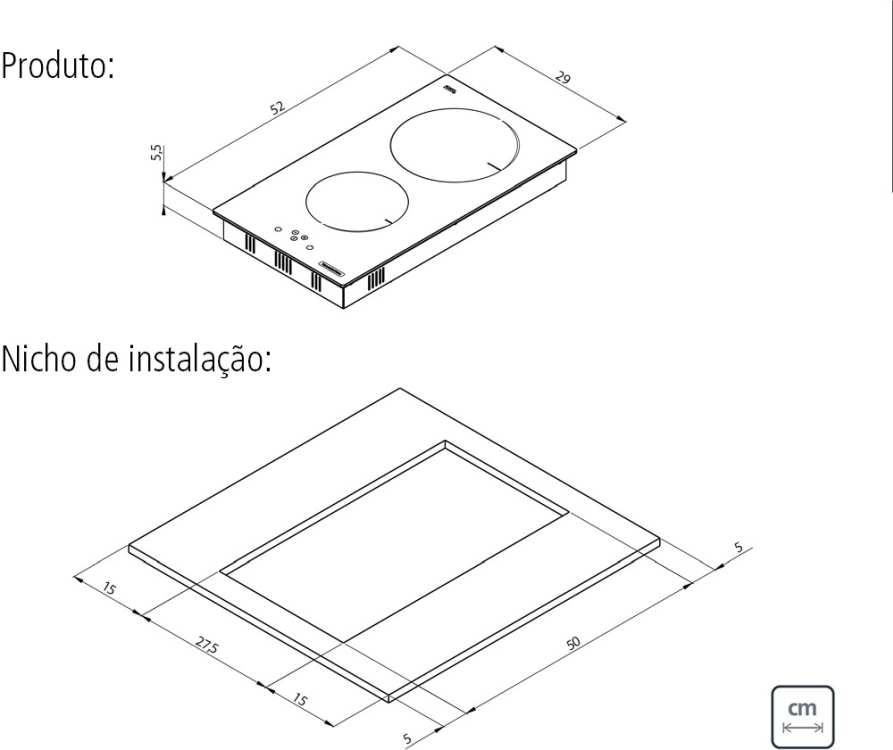 Dimensões do produto e do nicho de instalação - Cooktop por indução Tramontina