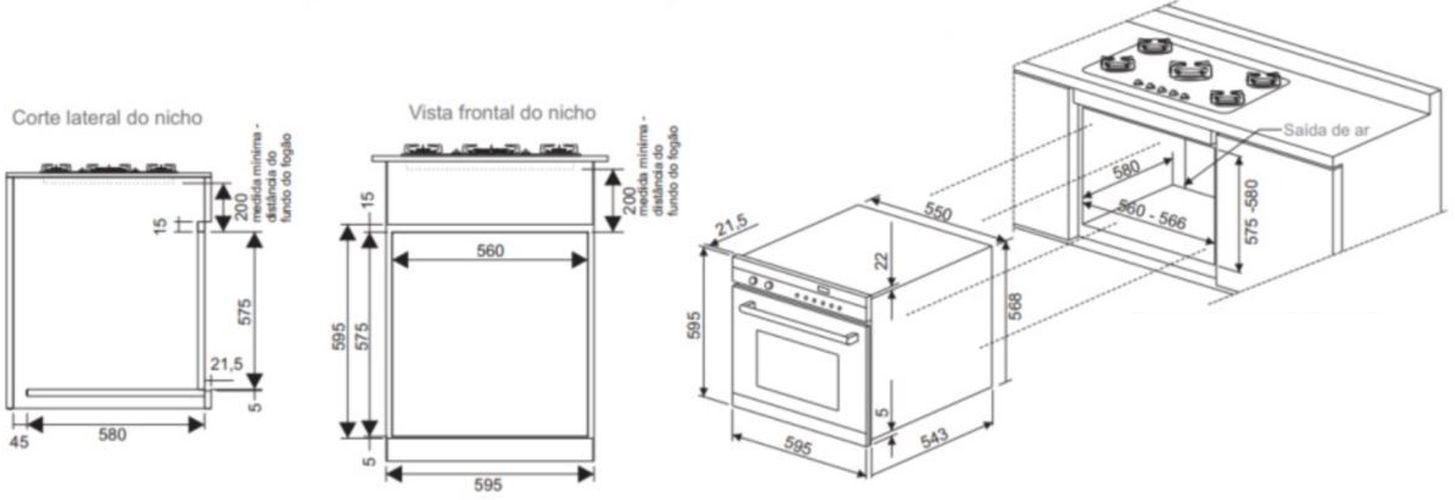 Instalação do forno de embutir Fischer - Sob fogão