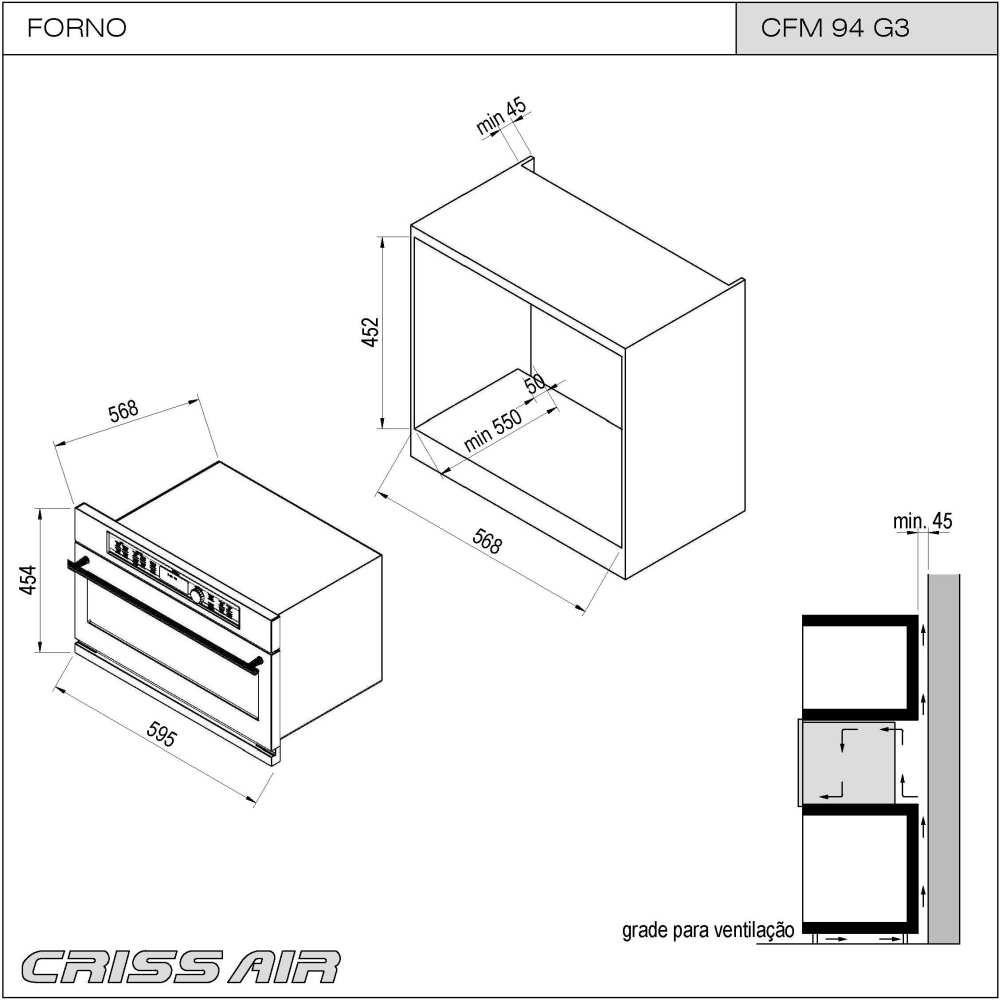 Nicho de instalação do microondas de embutir CrissAir CFM 94 G3
