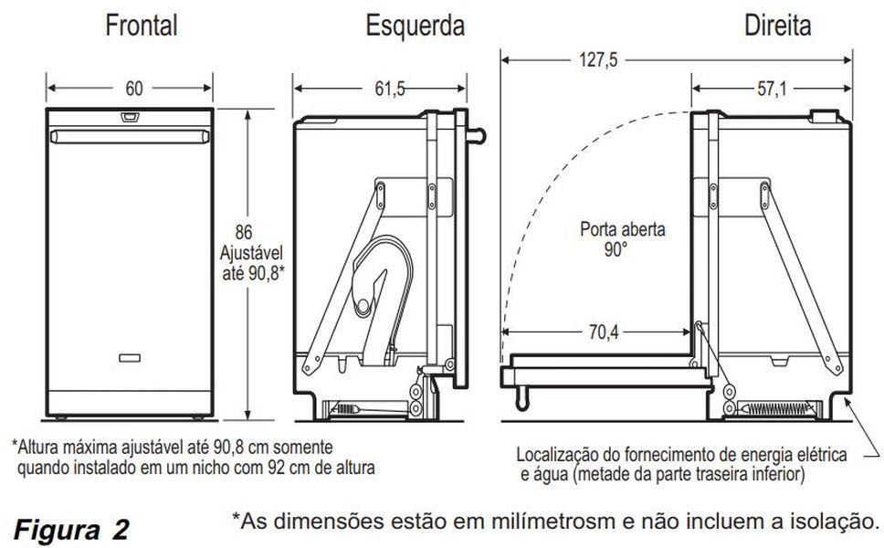 Dimensões do produto - Lava louças Electrolux 14 serviços