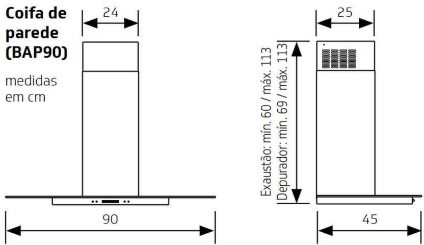Medidas de Coifa Brastemp de Parede 90 cm - BAP90