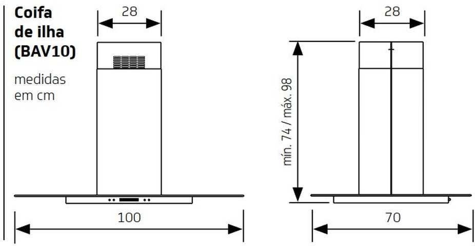 Medidas de Coifa Brastemp de Ilha 100 cm - BAV10