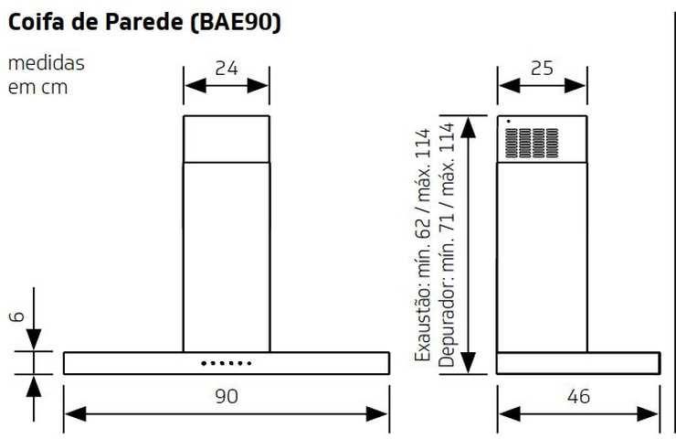 Medidas de Coifa Brastemp de Parede 90 cm - BAE90