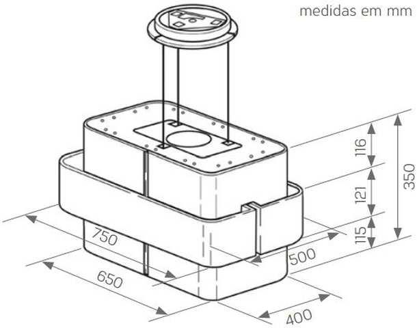 Medidas de Coifa Brastemp de Ilha 75 cm - GAV75