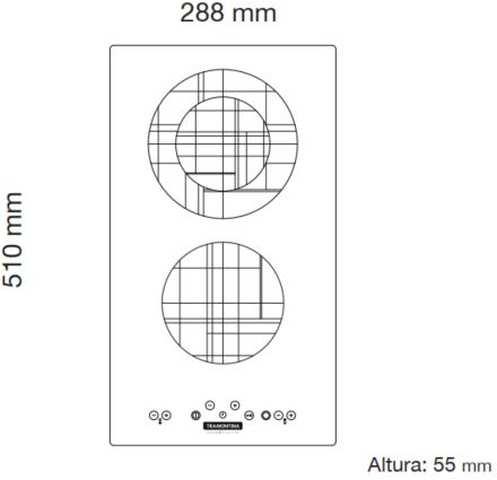 Dimensões do produto - Cooktop 2 bocas Tramontina