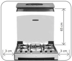 Instalação do fogão de piso - distãncias
