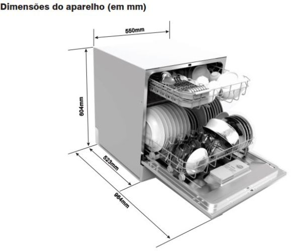 Dimensões do produto - Lava louças Electrolux 8 serviços LE08B