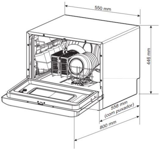 Dimensões do produto - Lava louças Electrolux