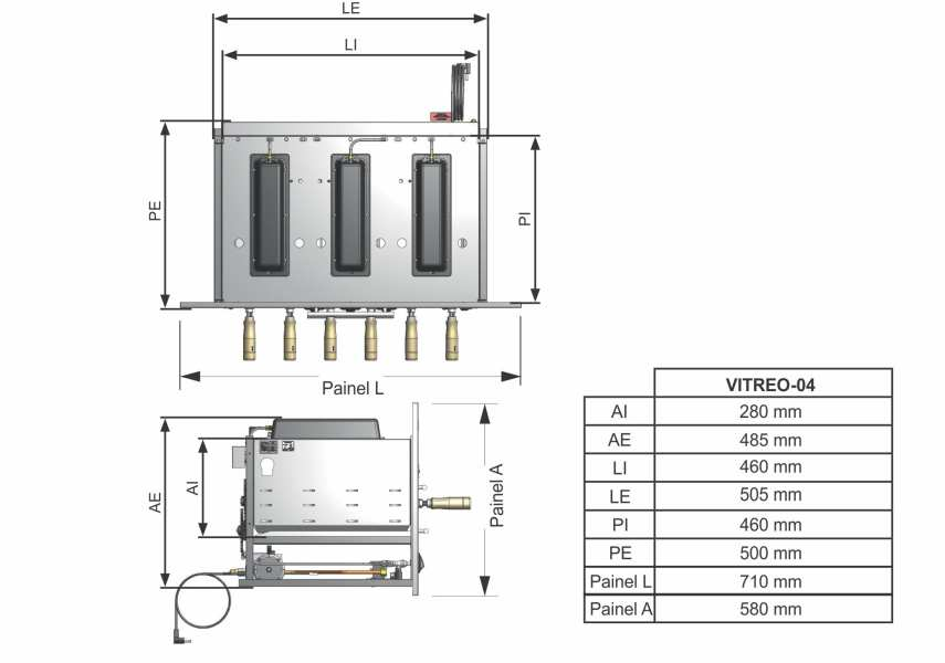 Medidas da churrasqueira a gás de embutir Arke - Vitreo Smart-4