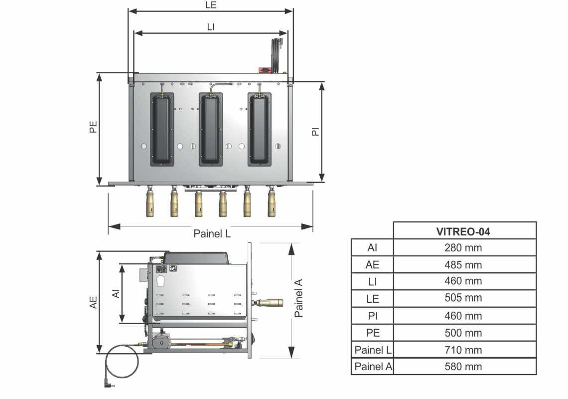 Medidas da churrasqueira a gás de embutir Arke - Vitreo 4 espetos