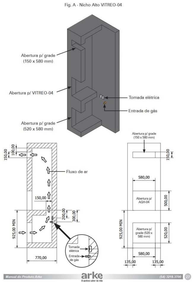 Instalação da churrasqueira a gás de embutir Arke - Nicho alto