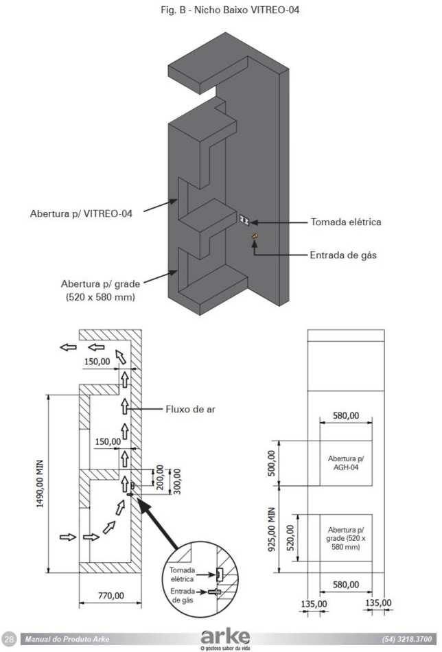 Instalação da churrasqueira a gás de embutir Arke - Nicho baixo