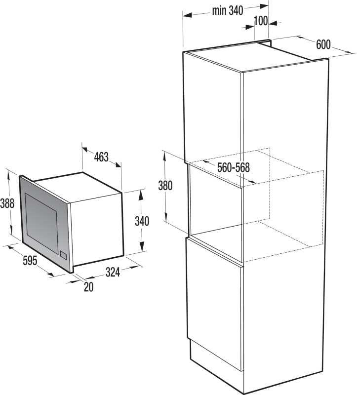 Nicho de instalação do microondas de embutir Gorenje - BM201E2X