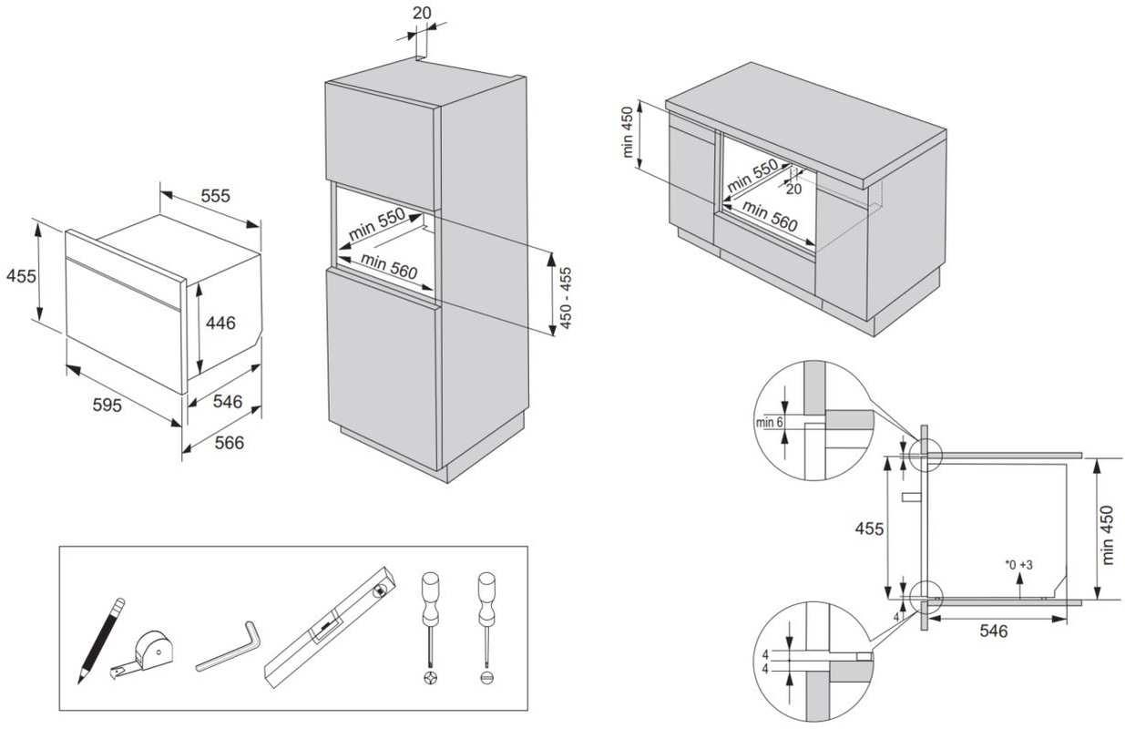 Nicho de instalação do microondas de embutir Gorenje - BCM547S12X
