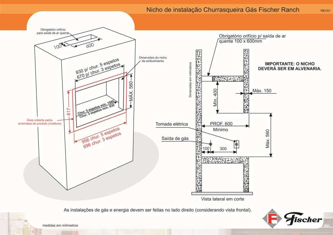 Instalação da churrasqueira a gás de embutir Fischer