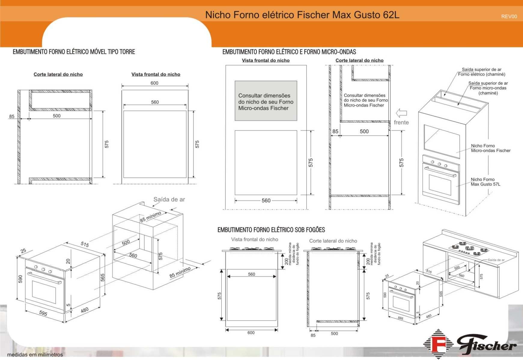 Instalação do forno de embutir Fischer Max Gusto 62 litros