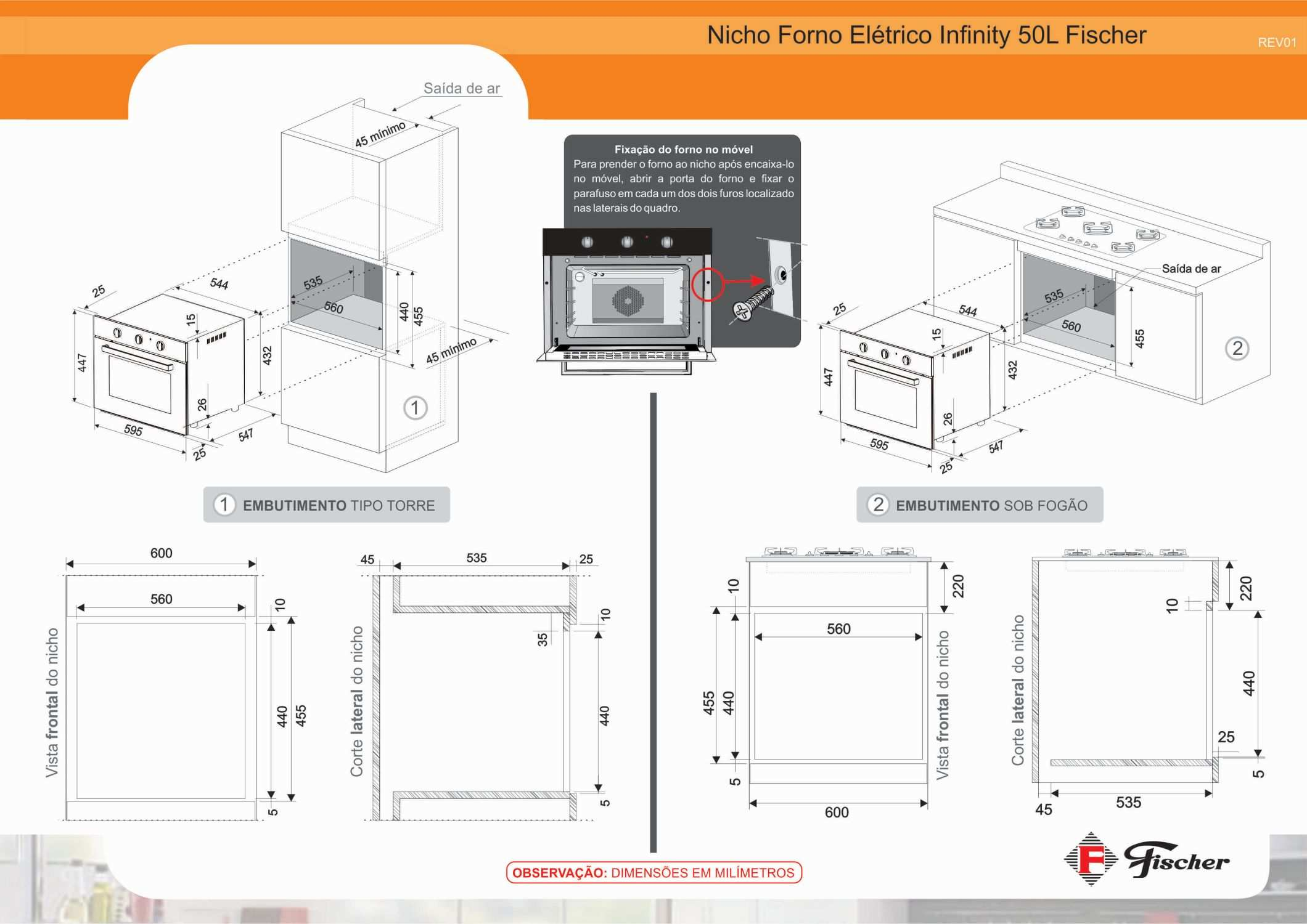 Instalação do forno de embutir Fischer Infinity Preto 50 litros
