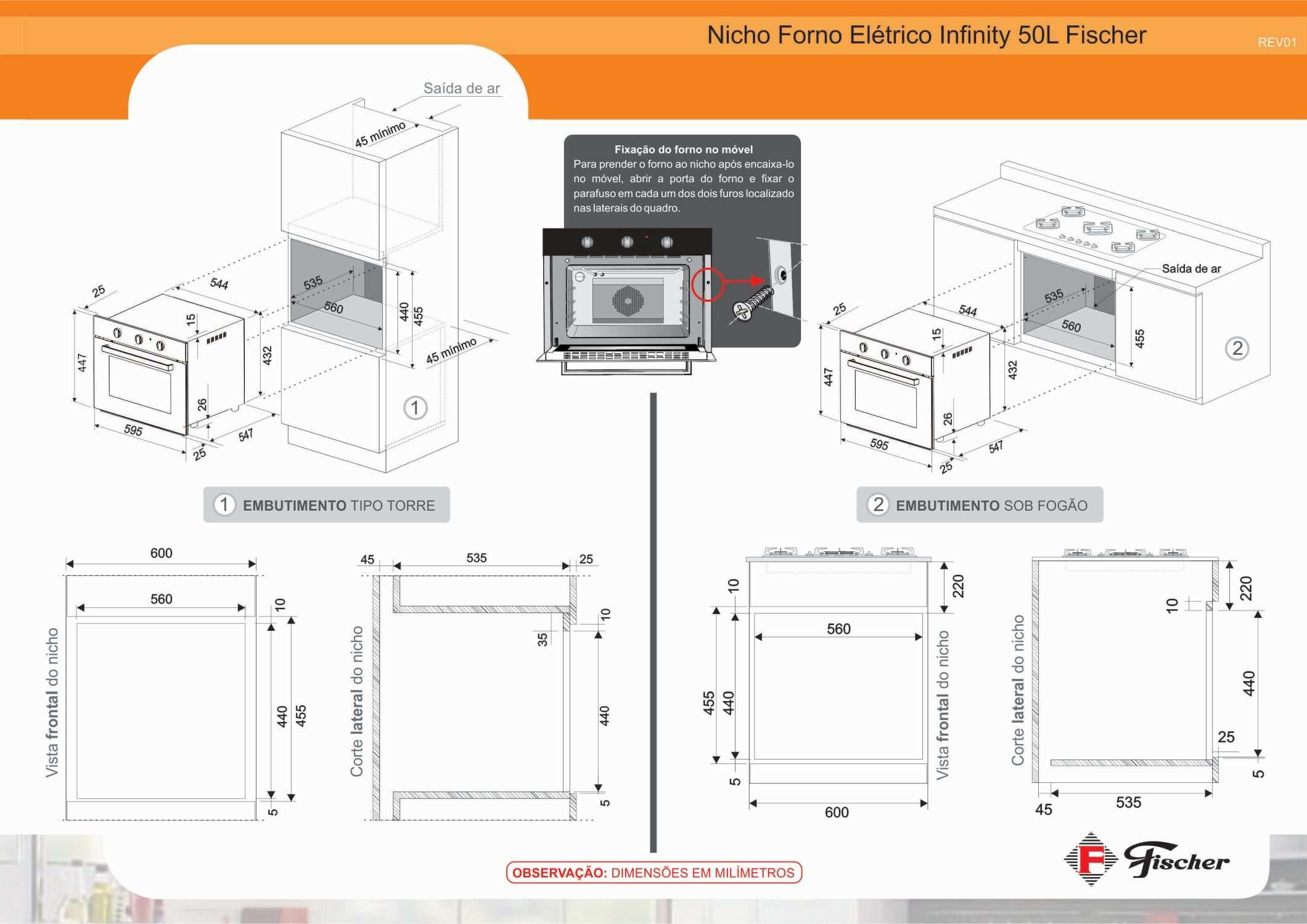 Instalação do forno de embutir Fischer Infinity Inox 50 litros