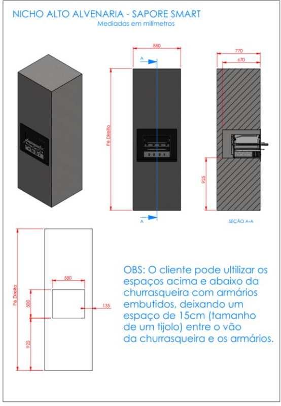 Instalação da churrasqueira elétrica Arke - Sapore Smart - Nicho alvenaria alto