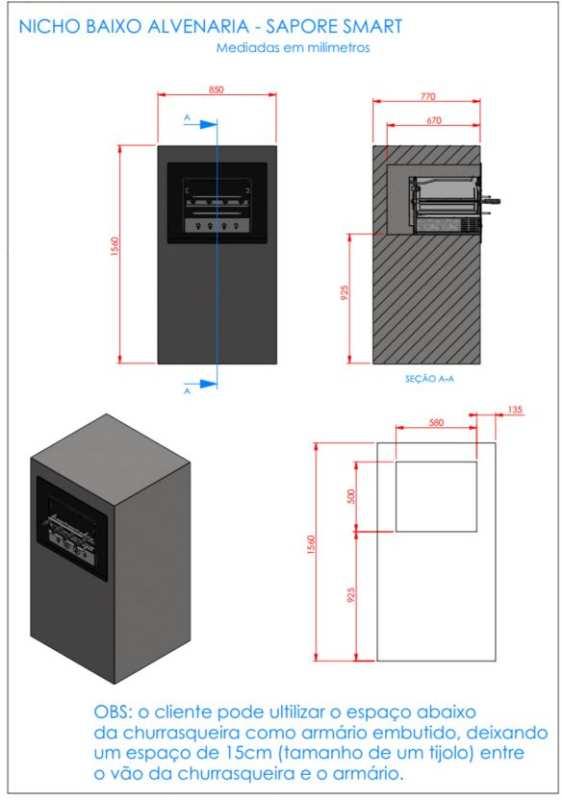 Instalação da churrasqueira elétrica Arke - Sapore Smart - Nicho alvenaria baixo