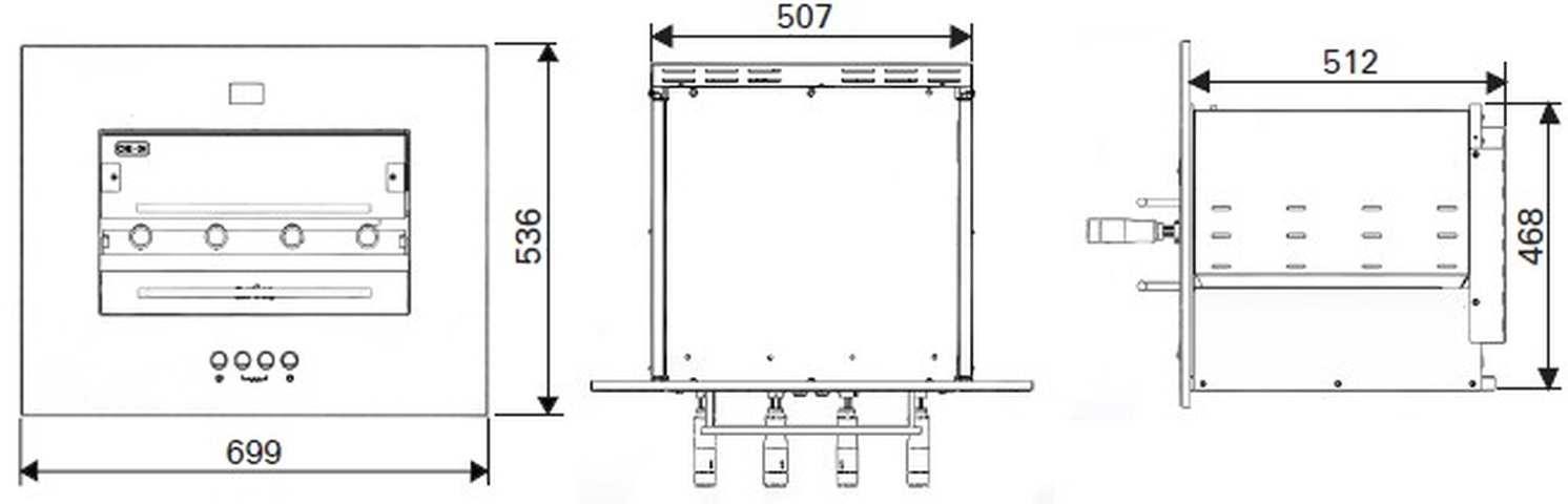 Medidas da churrasqueira a gás de embutir Arke - Sapore Smart-4