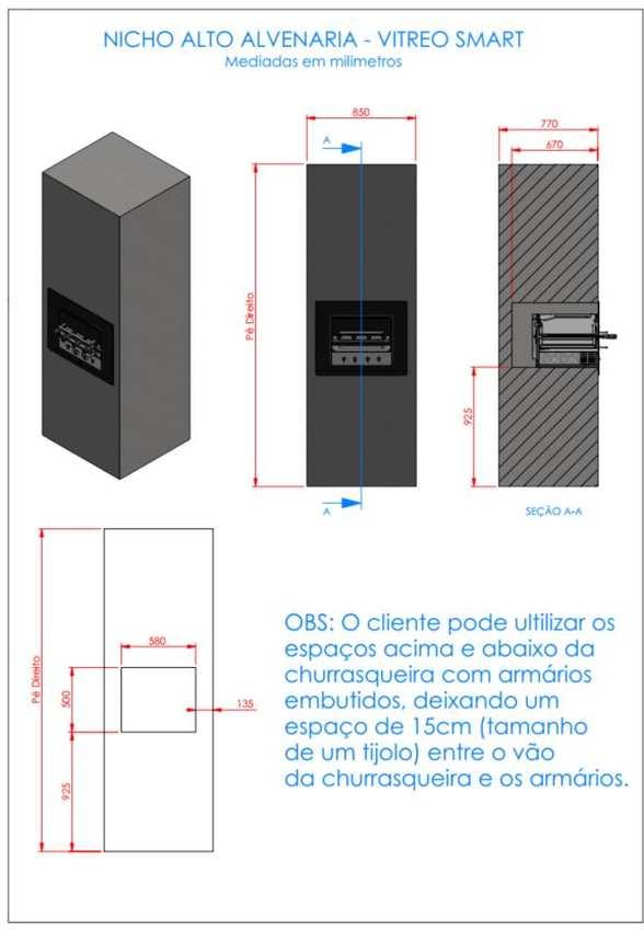 Instalação da churrasqueira elétrica Arke - Vitreo Smart - Nicho alvenaria alto