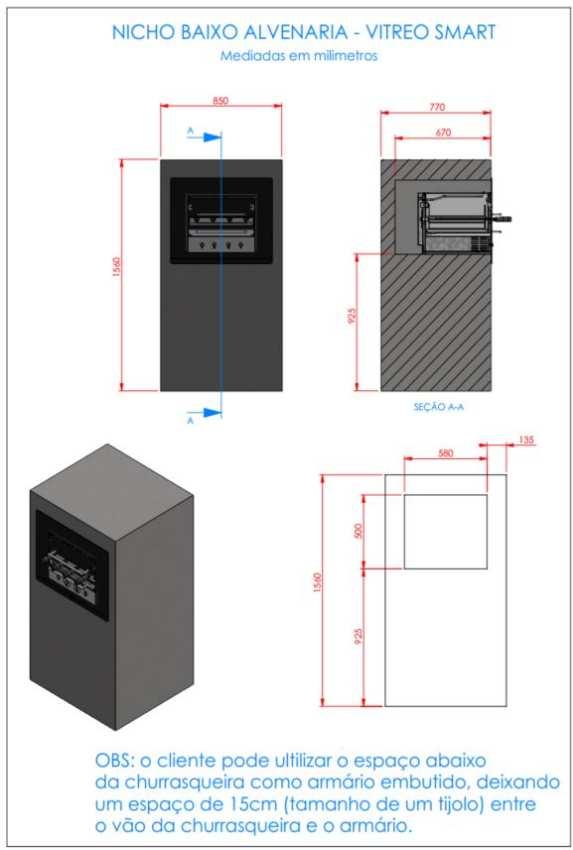 Instalação da churrasqueira elétrica Arke - Vitreo Smart - Nicho alvenaria baixo