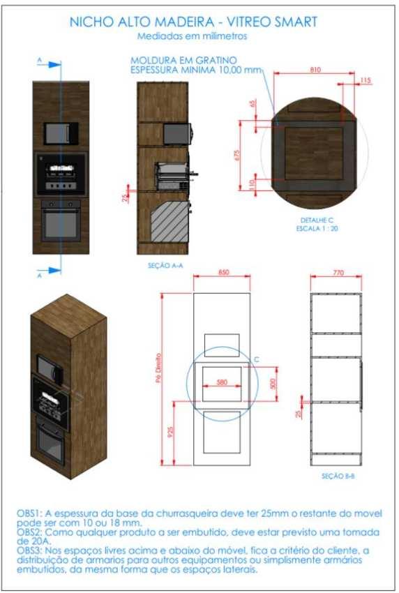 Instalação da churrasqueira elétrica Arke - Vitreo Smart - Nicho madeira baixo