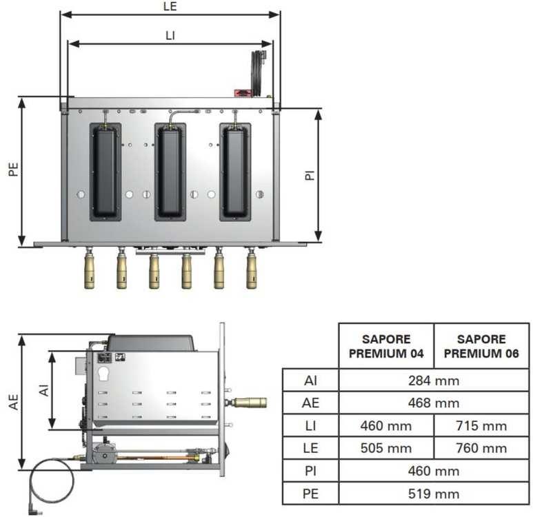 Medidas da churrasqueira a gás de embutir Arke - Sapore Premium