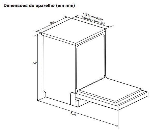 Dimensões do produto - lava louças Electrolux 14 serviços LF14X