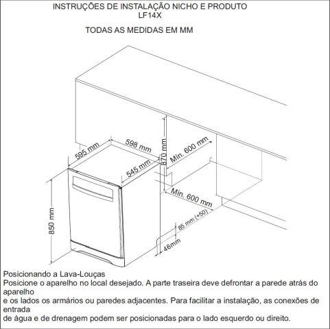 Medidas do Nicho de instalação - Lava louças Electrolux 14 serviços LF14X