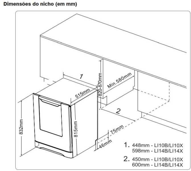 Medidas do Nicho de instalação - Lava louças Electrolux 10 serviços - LI10X