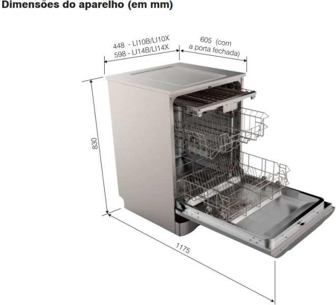 Dimensões do produto - Lava louças Electrolux 10 serviços - LI10X