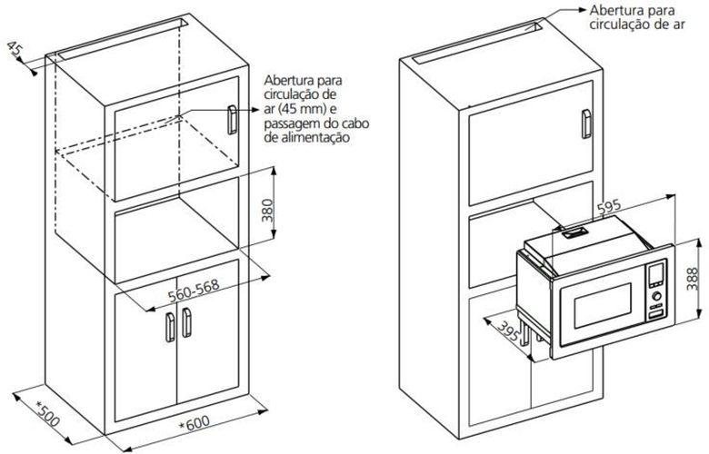 Instalação do microondas de embutir Tramontina 25 litros Glass 60