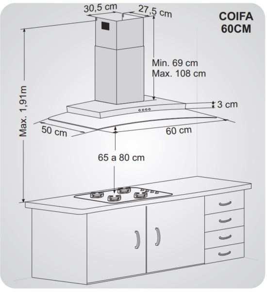 Instalação de coifa - Distância coifa - fogão