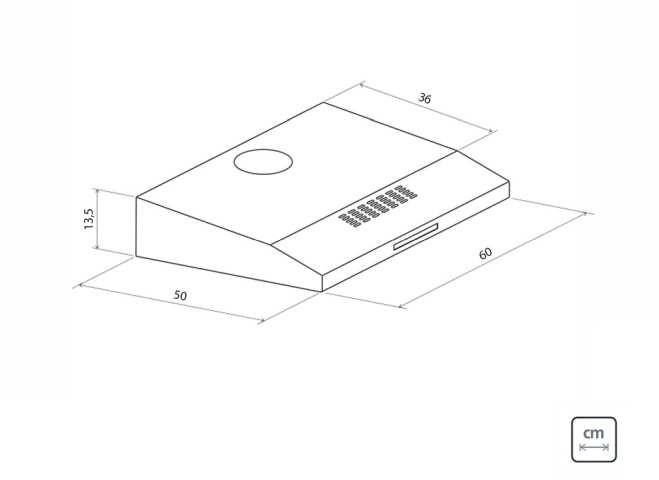 Dimensões do produto - Depurador Tramontina - Compact 60