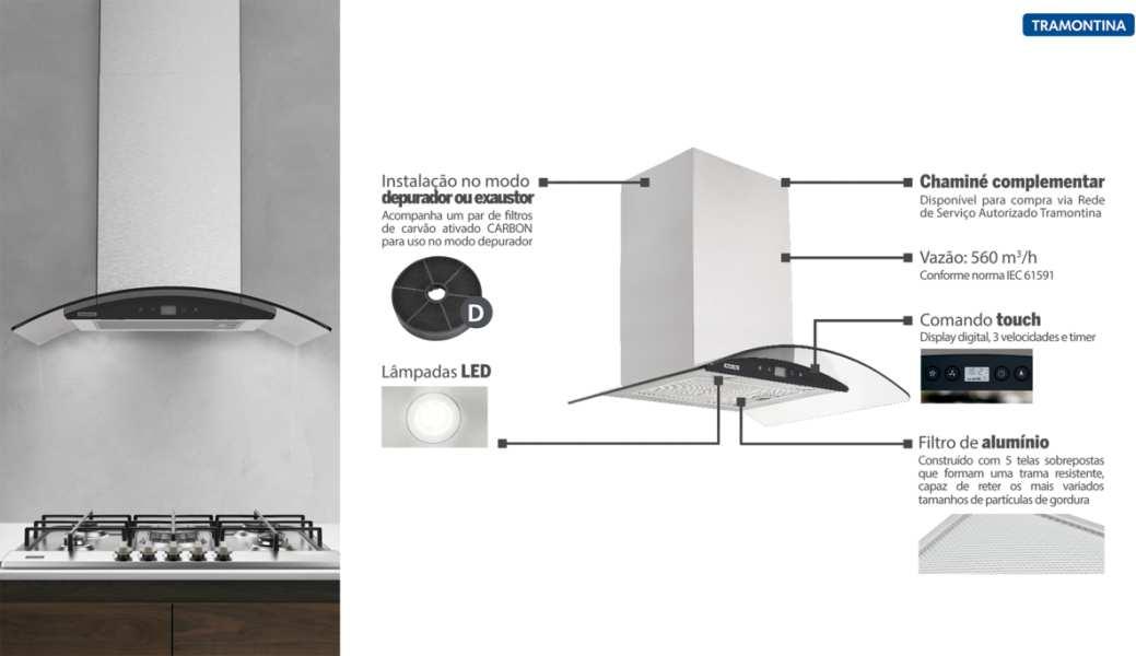 Medidas de Coifa Tramontina de Parede - New Vetro Black Touch 60