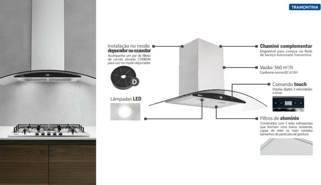 Medidas de Coifa Tramontina de Parede - New Vetro Black Touch 90