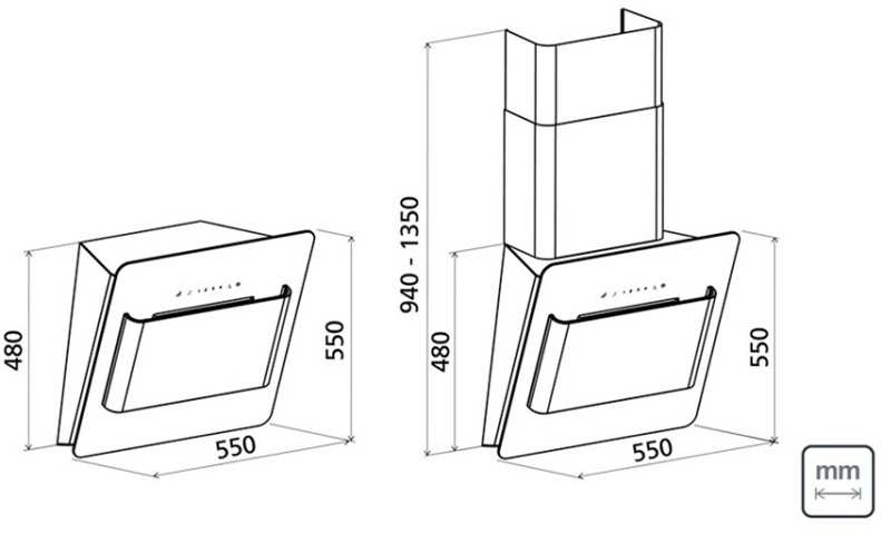Dimensões do produto - Coifa Tramontina Way W 55