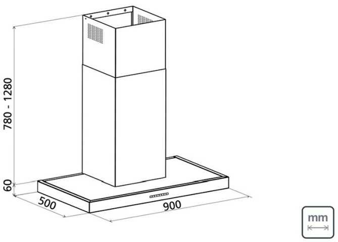 Dimensões do produto - Coifa Tramontina Silent Power 90