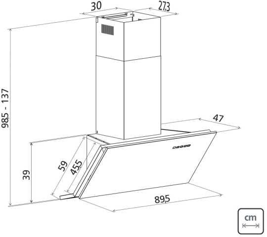 Dimensões do produto - Coifa Tramontina - Angle IX 90