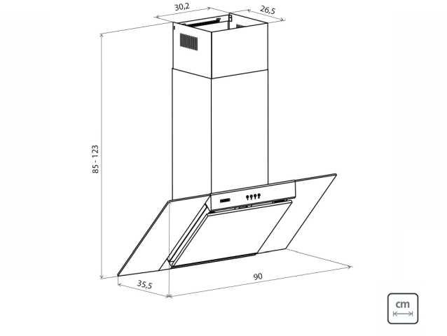 Dimensões do produto - Coifa Tramontina New Vetro Wall Flat B 90