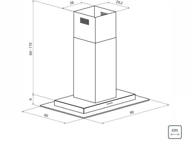 Dimensões do produto - Coifa Tramontina Vetro Isla Flat B 90