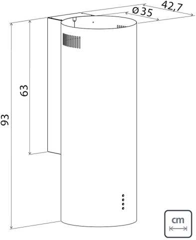 Dimensões do produto - Coifa Tramontina Redonda - Tube IX Wall 35