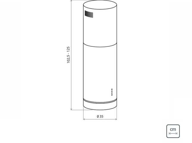 Dimensões do produto - Coifa Tramontina Tube Isla 35